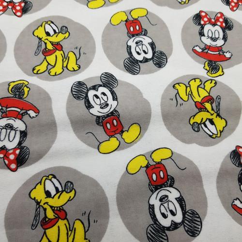 Mickey & Friends Cotton Flannel in Grey
