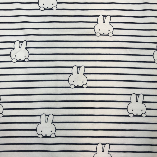 Miffy Stripe Organic Cotton Jersey in White