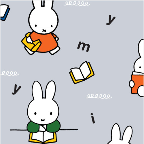Miffy at School Craft Cotton - Reading in Grey