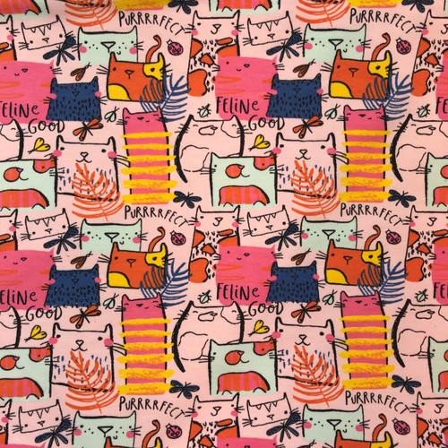 Feline Good Cotton Jersey in Pink