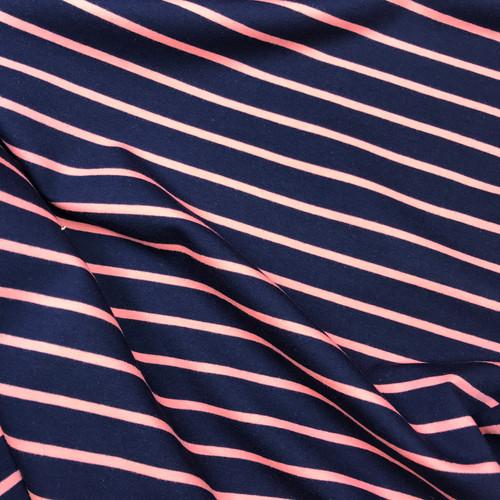 Yarn Dyed Stripe Sweatshirt in Navy/Coral