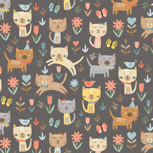 Cool Cats by Makower - Jumping Cats in Grey