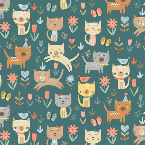 Cool Cats by Makower - Jumping Cats in Green