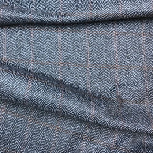 Herringbone Wool Plaid in Blue