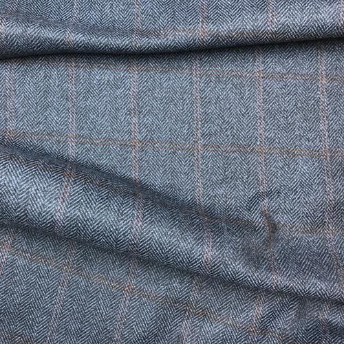 Herringbone Wool Plaid in Blue