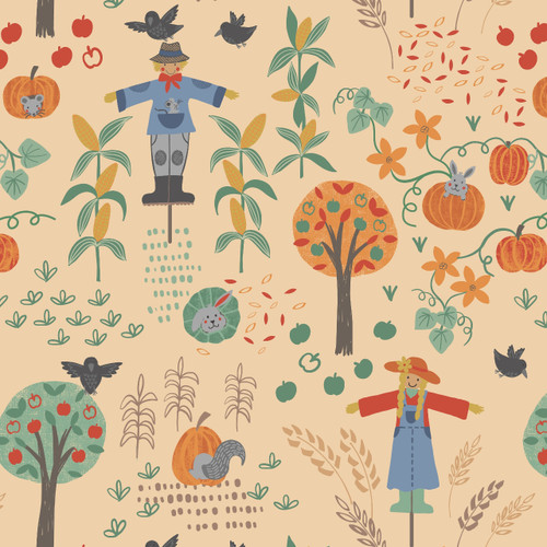 Lewis and Irene Cotton Fabric Scarecrow Acres in Hay
