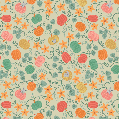 Lewis and Irene Cotton Fabric Pumpkin Vines on Light Apple
