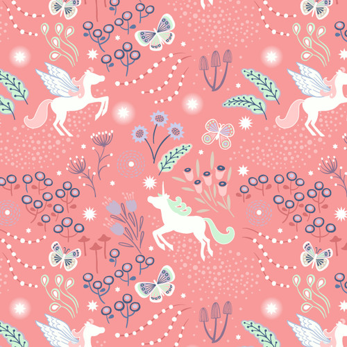Fairy Nights - Unicorn Meadow in Peachy Pink
