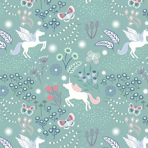 Fairy Nights - Unicorn Meadow in Teal