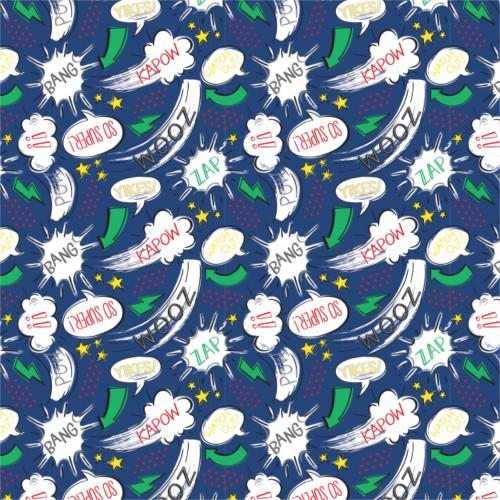 Half Pint Heros - Kapow in Blue Camalot Fabrics