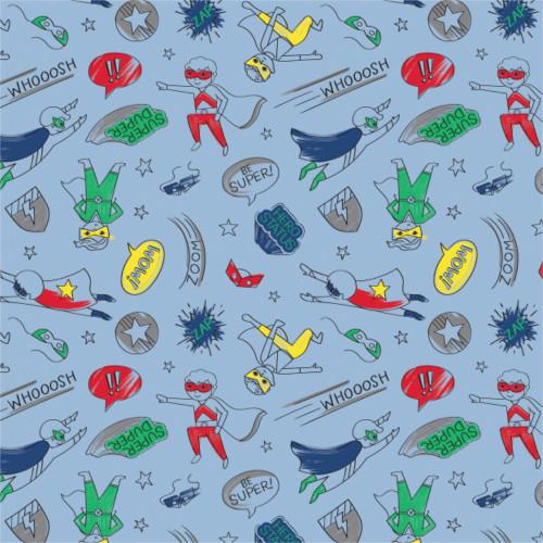 Half Pint Heros - Hero Boy in Blue - Camelot Fabrics