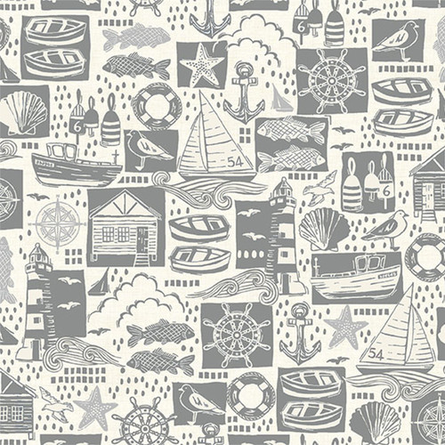 Sail Away by Makower - Montage in Grey Quilting Cotton