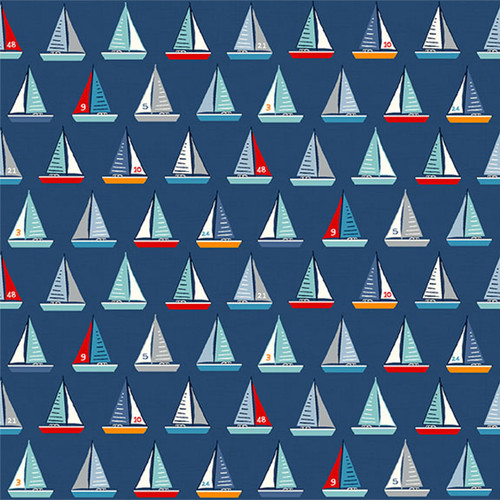 Sail Away by Makower - Yachts in Blue Quilting Cotton