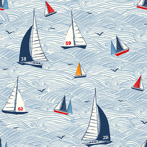 Sail Away by Makower - Seascape  Quilting Cotton