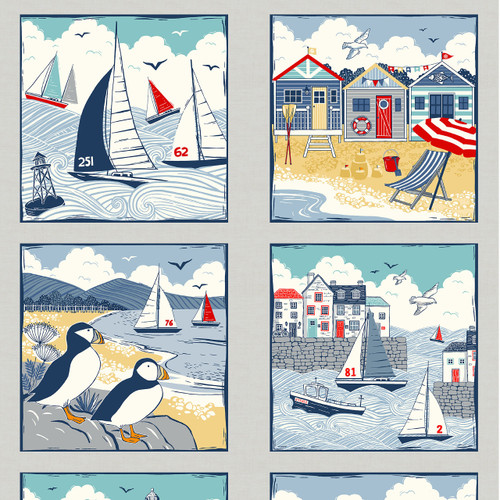 Sail Away by Makower - nautical quilt Panel