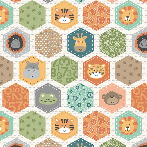 Jungle by Makower - Hexagons in Cream