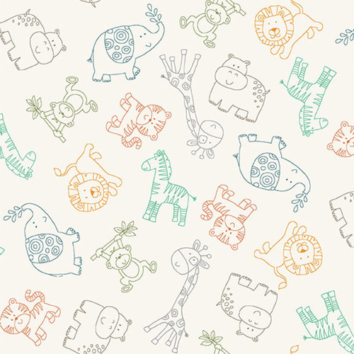 Jungle by Makower - Outlines in Cream