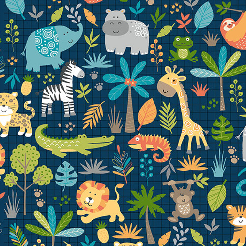Jungle by Makower - Montage in Blue