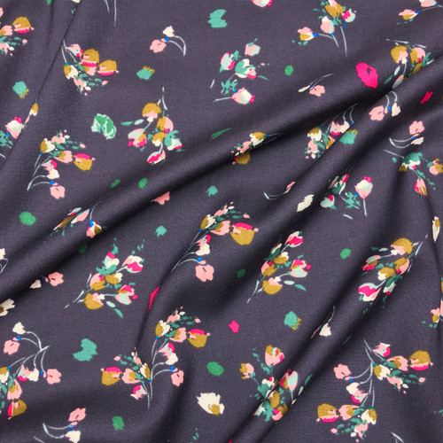Pink Posy Viscose in Indigo