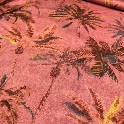 Pretty Palms Linen in Pink