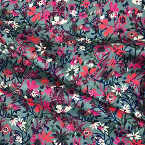 Pink Meadow Cotton Lawn in Grey