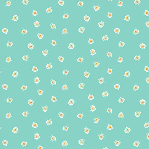 Spring by Makower - Daisy in Turquoise Quilting Cotton