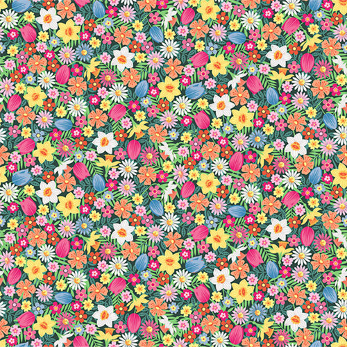 Spring Flowers in Pink Quilting Cotton Fabric