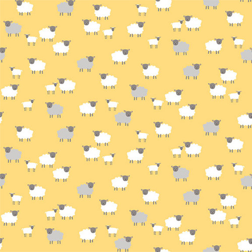 Spring by Makower - Spring Sheep in Yellow Quilting Cotton Fabric
