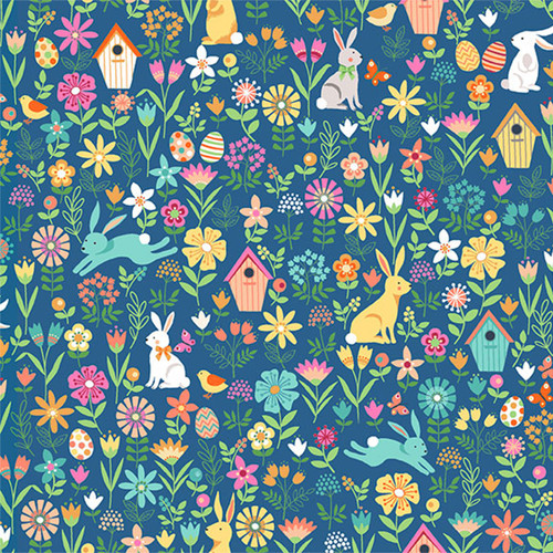 Spring by Makower - Spring Allover in Blue Quilting Cotton Fabric
