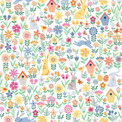 Spring by Makower - Spring Allover in Cream Quilting Cotton Fabric