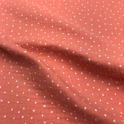 Dotty Double Gauze in Soft Pink Dressmaking Fabric
