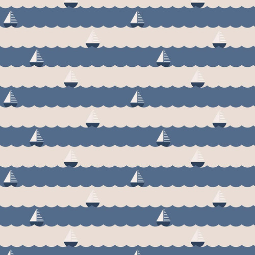 Figo Sunkissed Sailing Boats in Blue  Quilting Cotton