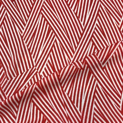Block Stripe Javanaise Viscose in Red Dressmaking Fabric