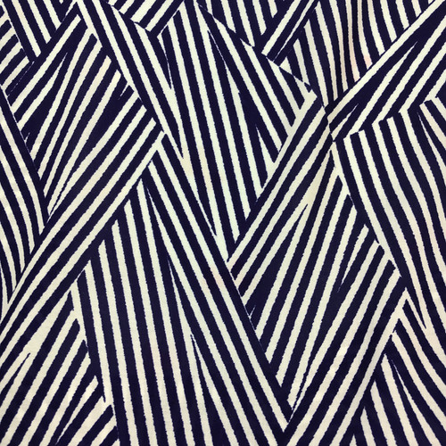 Block Stripe Javanaise Viscose in Royal Blue Dressmaking Fabric