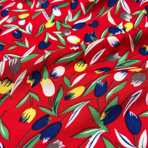 Tulip Viscose Poplin in Red Dressmaking Fabric