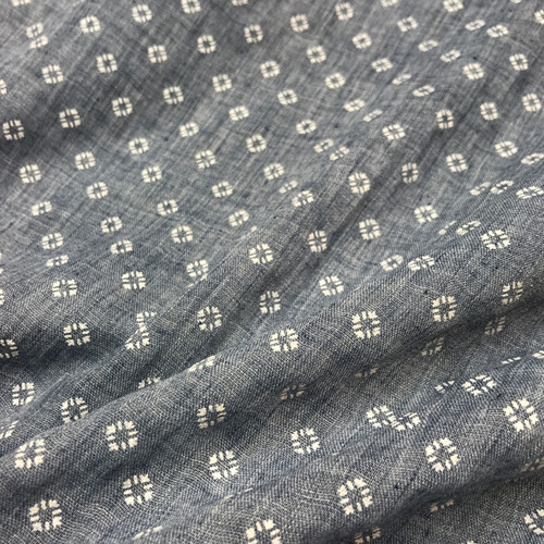 Embossed Cotton Blend in Chambray Blue Dressmaking Fabric