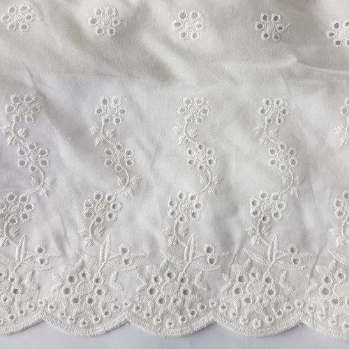 Embroidered cotton voile Broderie anglaise