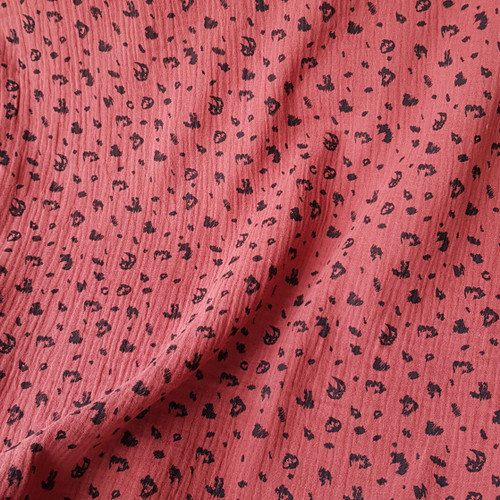 cheetah animal print cotton double gauze