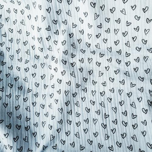 love hearts cotton double gauze fabric