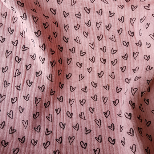 love hearts cotton double gauze fabric