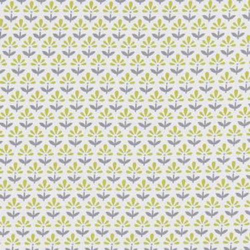Oilcloth - Fleur in Chartreuse/Charcoal