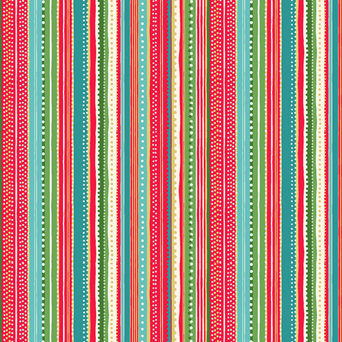 Let is Snow by Makower - Dotty Stripe in Red