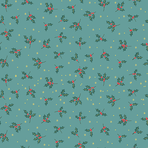Yuletide by Makower - Holly in Turquoise