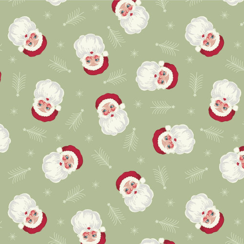 Christmas Trees by Lewis & Irene - Vintage Santa in Sage Green