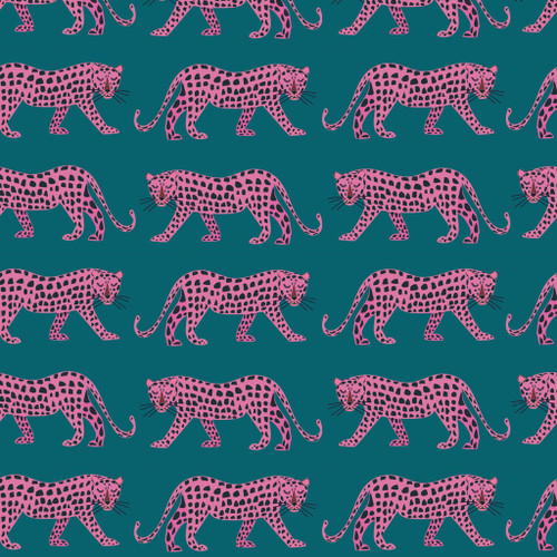 Night Jungle by Dashwood - Leopards in Teal Quilting Cotton Fabric