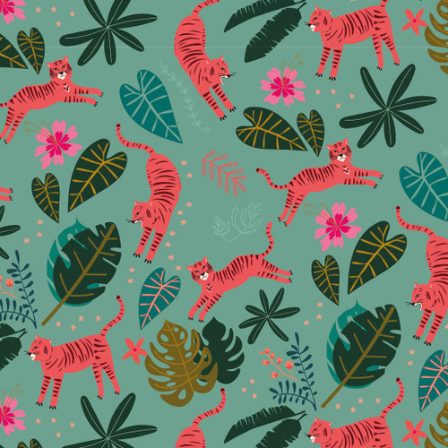 Night Jungle by Dashwood - Jumping Tigers in Soft Green