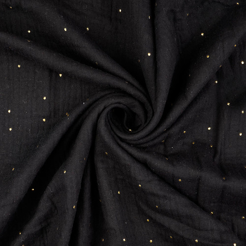 Gold Moondust Cotton Double Gauze in Black