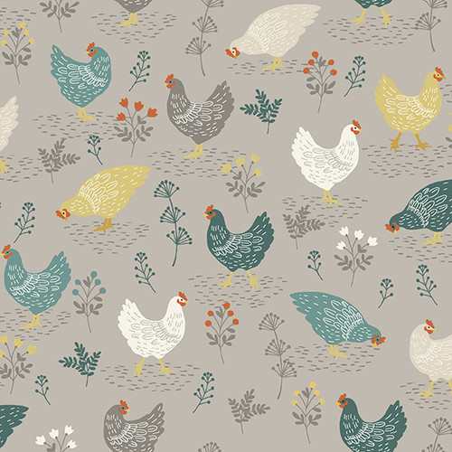 Clara by Makower - Chickens in Grey