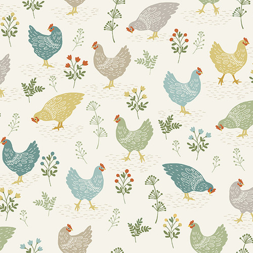 Clara by Makower - Chickens in Cream