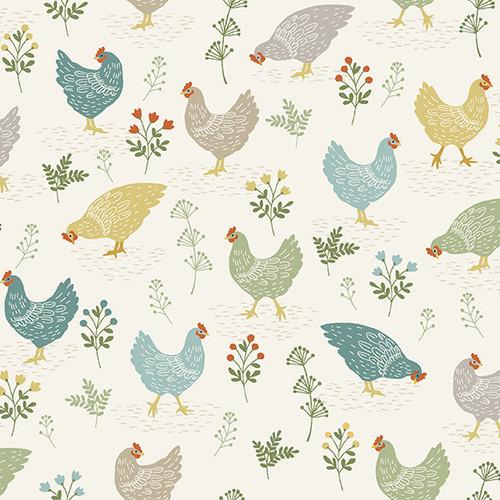 Clara by Makower - Chickens in Cream